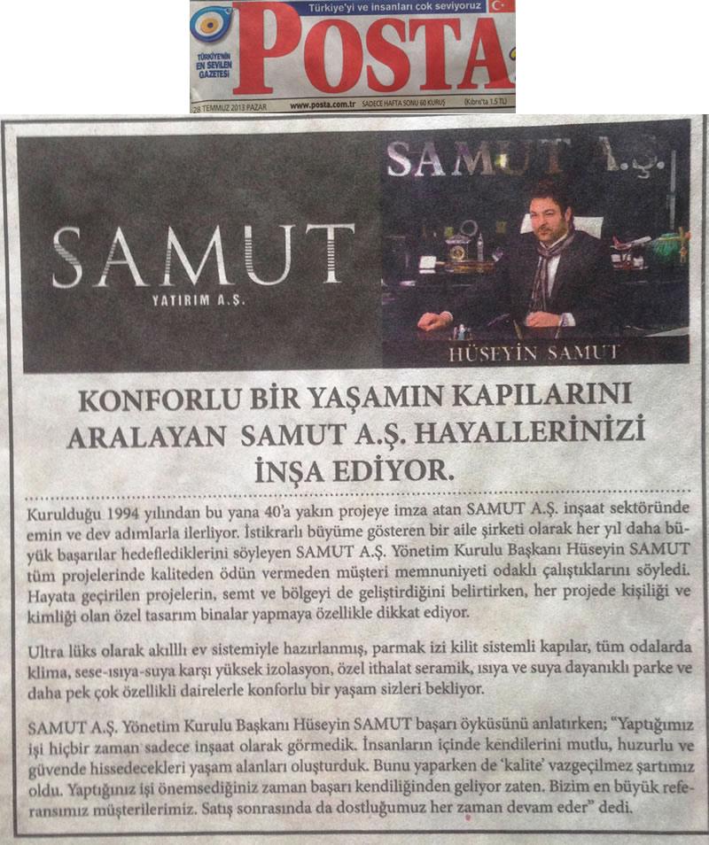 Posta Temmuz 2013 - Samut Aş