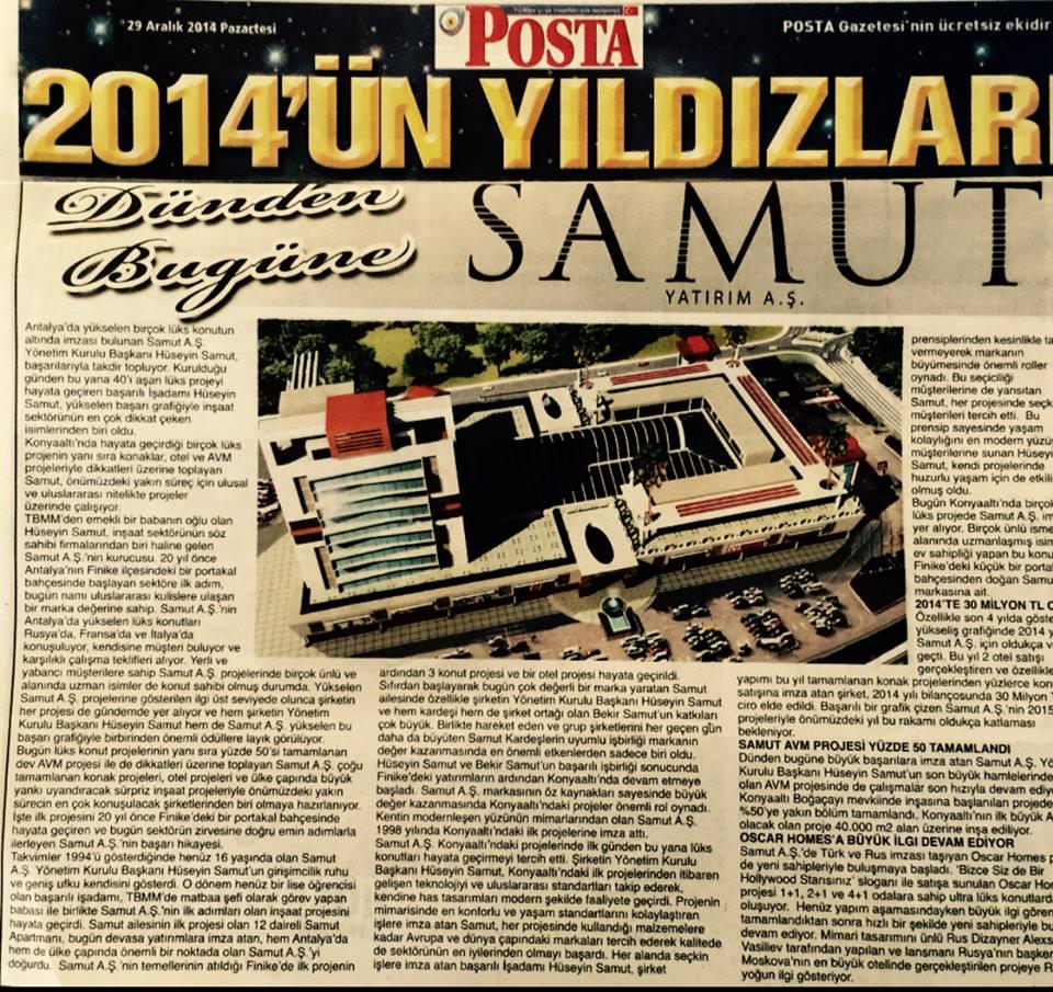 Posta Gazetesi - 2014 Yılı Yıldızı Samut Aş.